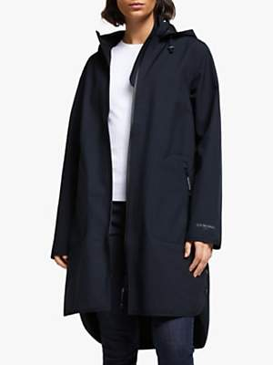 Ilse Jacobsen Hornbæk 3/4 Length Detachable Hood Raincoat, Dark Indigo