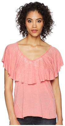 Lucky Brand Burnout Ruffle Tee Women's T Shirt