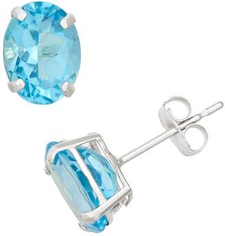 Swiss Blue Topaz 10k White Gold Oval Stud Earrings