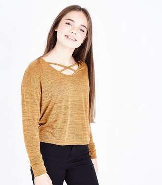 New Look Teens Mustard Lattice Neck Fine Knit Top