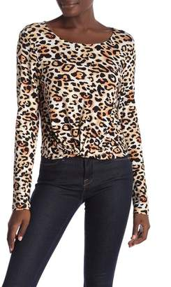HIATUS Long Sleeve Leopard Print Twist Top