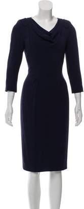 Rena Lange Draped Scoop Neck Midi Dress