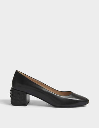 Tod's Gommino Heeled Pumps in Black Calfskin and Rubber