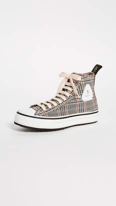 R 13 Plaid Twill High Top Sneakers