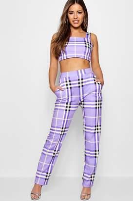 boohoo Petite Check High Waisted Trouser