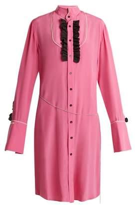 Blouse - Magnus Ruffle Trimmed Silk Shirtdress - Womens - Pink