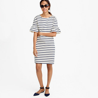Ruffled bell-sleeve shift dress in stripe $98 thestylecure.com
