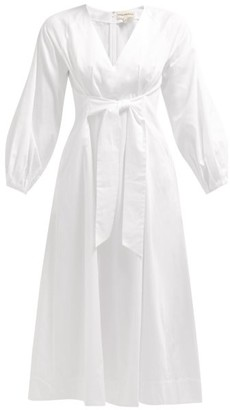 Mara Hoffman Vivica Tie Front Cotton Midi Dress - Womens - White