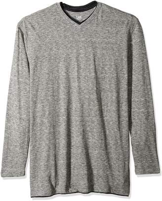 Lee Men's Big and Tall Tipping Long Sleeve Vneck Neck Shirt, Grey, 3XLT