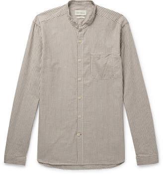 Oliver Spencer Grandad-Collar Striped Cotton Shirt
