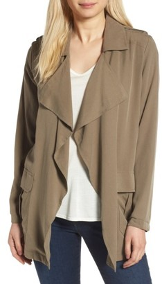 Women's Trouve Drape Front Military Jacket $99 thestylecure.com