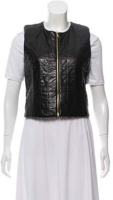 The Row Leather Quilted Vest