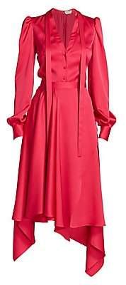 Alexander McQueen Women's Asymmetric Silk Tieneck Dress