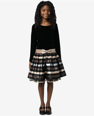 Bonnie Jean Big Girls Velvet Jacquard Striped Dress