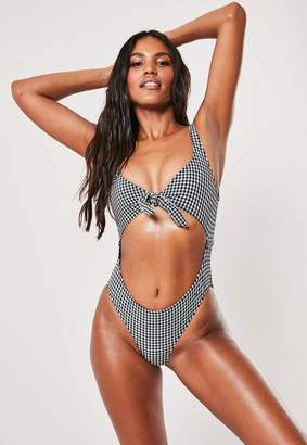 Missguided Black Gingham Cut Out Scoop High Leg Swimsuit, Black