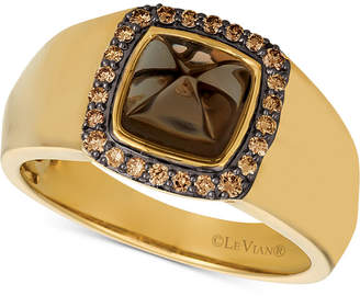 LeVian Le Vian Gents Men's Chocolate Quartz & Diamond (1/4 ct. t.w.) Ring in 14k Gold