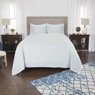 "Rizzy Home Cotton 90""x92"" Aqua Blue Stripe Bedding"