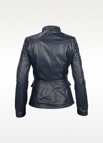 Forzieri Navy Blue Calf Leather Zip Jacket