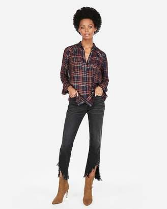 Express Embellished Flannel Boyfriend Shirt