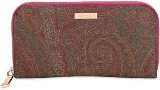 Etro Paisley Faux Leather Zip Around Wallet