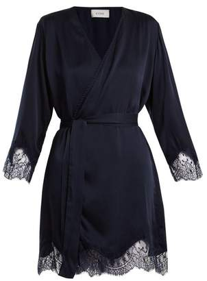 Icons Lily Lace Trimmed Silk Satin Kimono - Womens - Navy