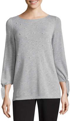 Liz Claiborne 3/4 Tie Sleeve Sweatshirt