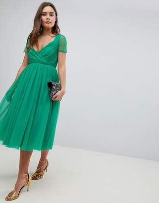 Asos Design Tulle Midi Dress with Sheer Sleeve