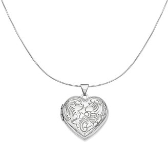 "Polished 18"" Scroll Filigree Heart Locket Necklace, 14K Gold"