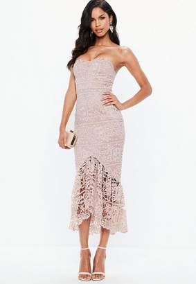 Missguided Pink Lace Fishtail Maxi Dress, Pink