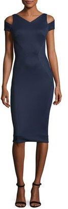 Zac Posen Cold-Shoulder V-Neck Sheath Dress, Navy $1,390 thestylecure.com