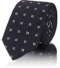 Barneys New York MEN'S DIAMOND-PATTERN SILK NECKTIE-BLACK