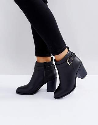 London Rebel Heeled Ankle Buckle Strap Boot