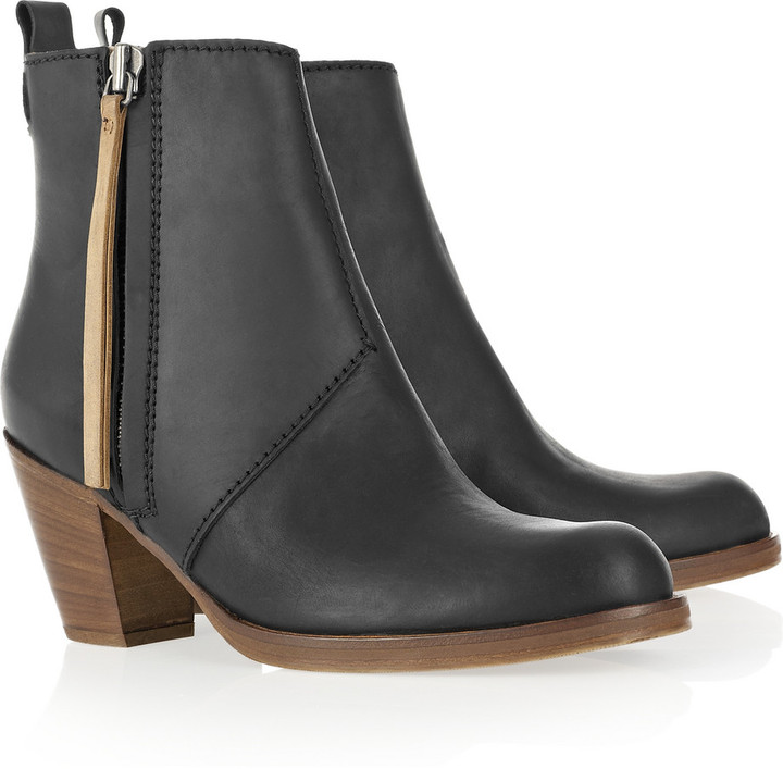 Acne Pistol leather ankle boots with brown wooden heel