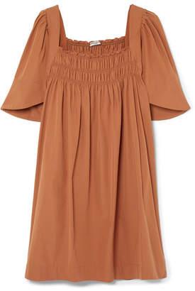 Three Graces London Emmeline Shirred Cotton-poplin Mini Dress - Brown