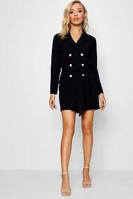 boohoo NEW Womens Double Breasted Belted Blazer Dress in Polyester