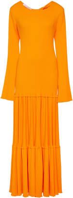 Carolina Herrera Long Sleeve Tiered Knit Dress