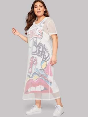 Shein Plus 2 In 1 Lip Print Fishnet Overlay Dress