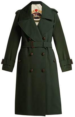 Burberry Regina Logo Jacquard Wool Trench Coat - Womens - Green