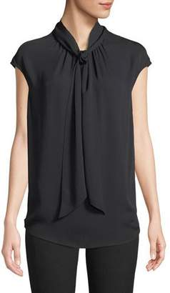 St. John Tie-Neck Cap-Sleeve Silk Georgette Shell