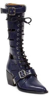 Chloé Rylee Tall Lace-Up Buckle Boots