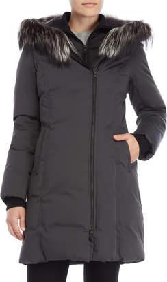 Soia & Kyo Grey Real Fur Trim Down Coat