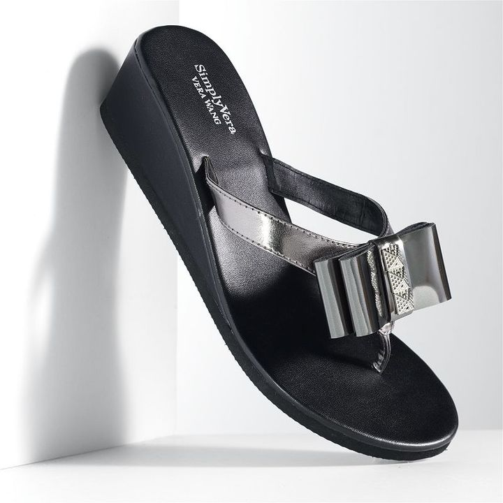 Vera Wang Simply vera mirror bow wedge flip-flops