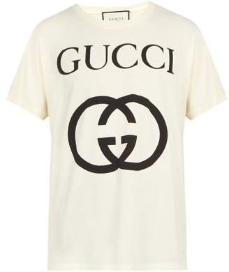 Gucci Logo Print Cotton T Shirt - Mens - Ivory