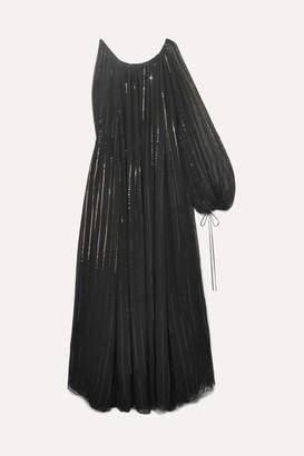 Oscar de la Renta Asymmetric Sequin-embellished Silk-chiffon Gown - Black