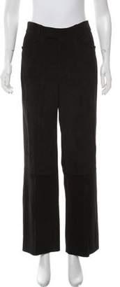 Miu Miu High-Rise Suede Leather Pants