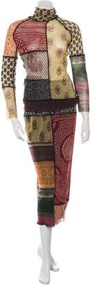 Jean Paul Gaultier Mixed Print Wool Skirt Set $145 thestylecure.com