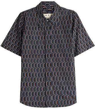 Marni Printed Cotton Short Sleeve Shirt