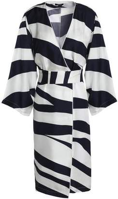 Raoul Zebra-Print Silk-Faille Wrap Dress