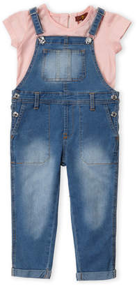 7 For All Mankind Toddler Girls) Two-Piece V-Neck Tee & Denim Overalls Set