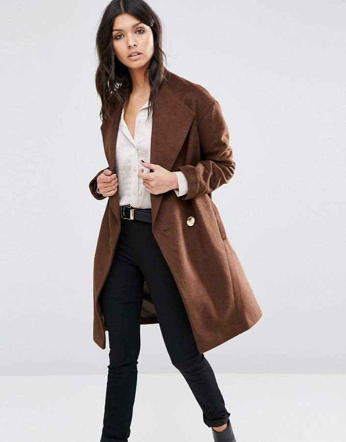 Asos ASOS Cocoon Wrap Coat with Contrast Button